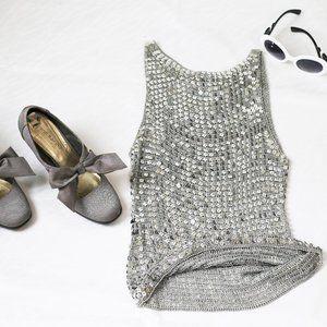 Sleeveless sequin crochet top